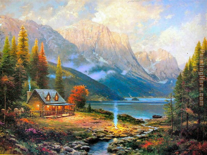 Thomas Kinkade The Beginning of a Perfect Day Art Painting