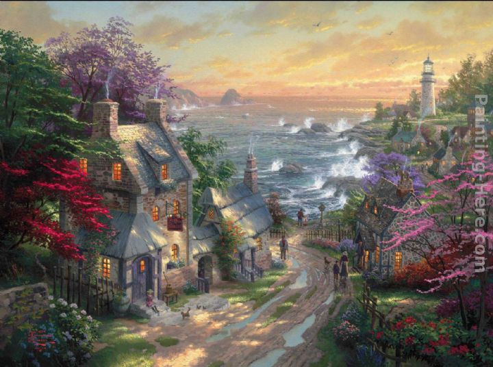 The Village Lighthouse painting - Thomas Kinkade The Village Lighthouse art painting