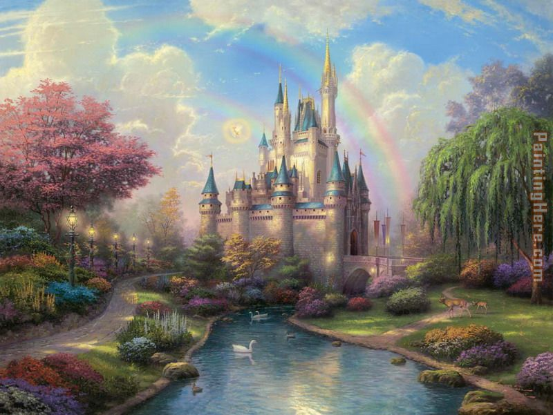 a new day at the Cinderella's castle painting - Thomas Kinkade a new day at the Cinderella's castle art painting