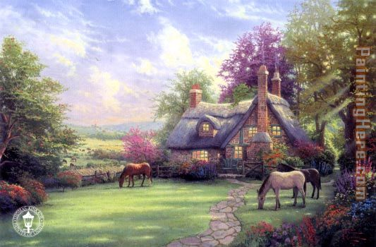 a perfect summer day painting - Thomas Kinkade a perfect summer day art painting