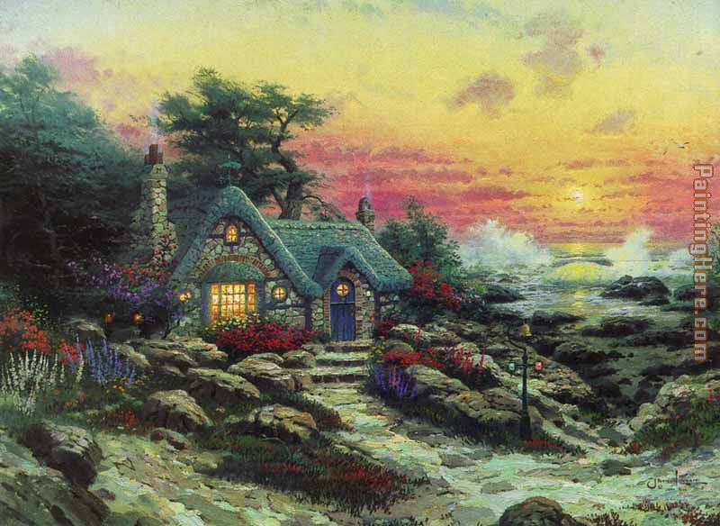 cottage by the sea painting - Thomas Kinkade cottage by the sea art painting