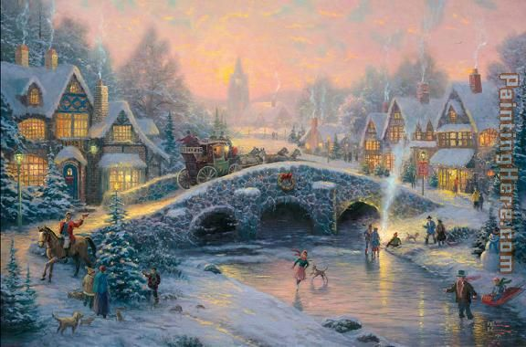 spirit of xmas painting - Thomas Kinkade spirit of xmas art painting