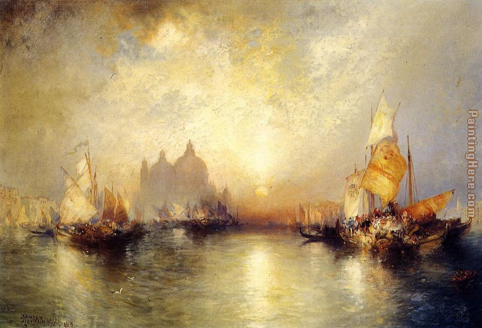 Entrance to the Grand Canal, Venice painting - Thomas Moran Entrance to the Grand Canal, Venice art painting