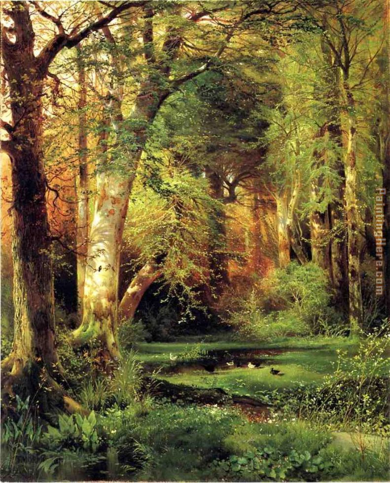 Forest Scene painting - Thomas Moran Forest Scene art painting