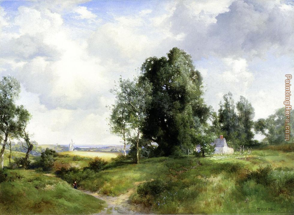 Old Windmill, East Hampton, Long Island, New York painting - Thomas Moran Old Windmill, East Hampton, Long Island, New York art painting