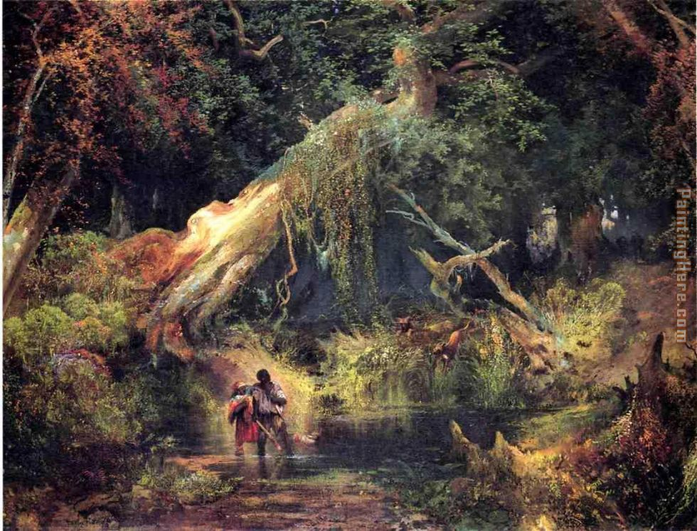 Thomas Moran Slave Hunt, Dismal Swamp, Virginia Art Painting