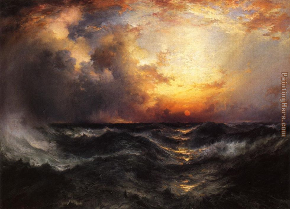 Sunset in Mid-Ocean painting - Thomas Moran Sunset in Mid-Ocean art painting