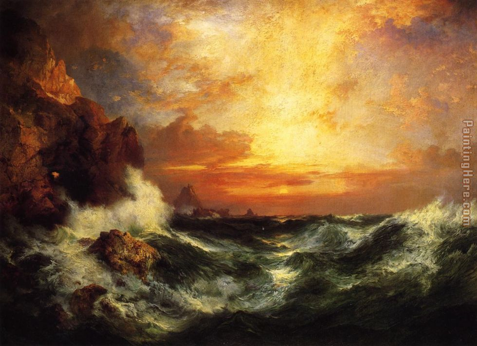 Thomas Moran Sunset near Land's End, Cornwall, England Art Painting