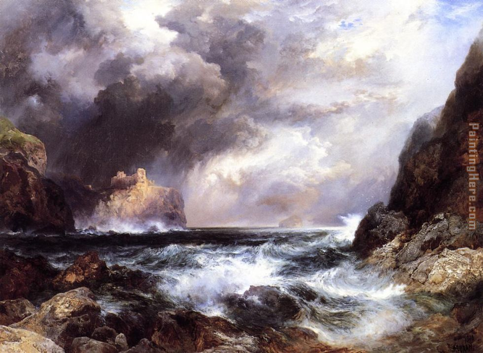 Tantallon Castle, North Berwick, Scotland painting - Thomas Moran Tantallon Castle, North Berwick, Scotland art painting