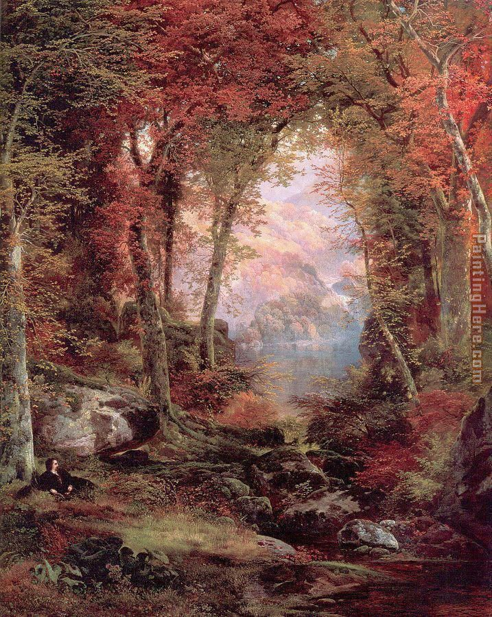Thomas Moran The Autumnal Woods Under the Trees Art Painting