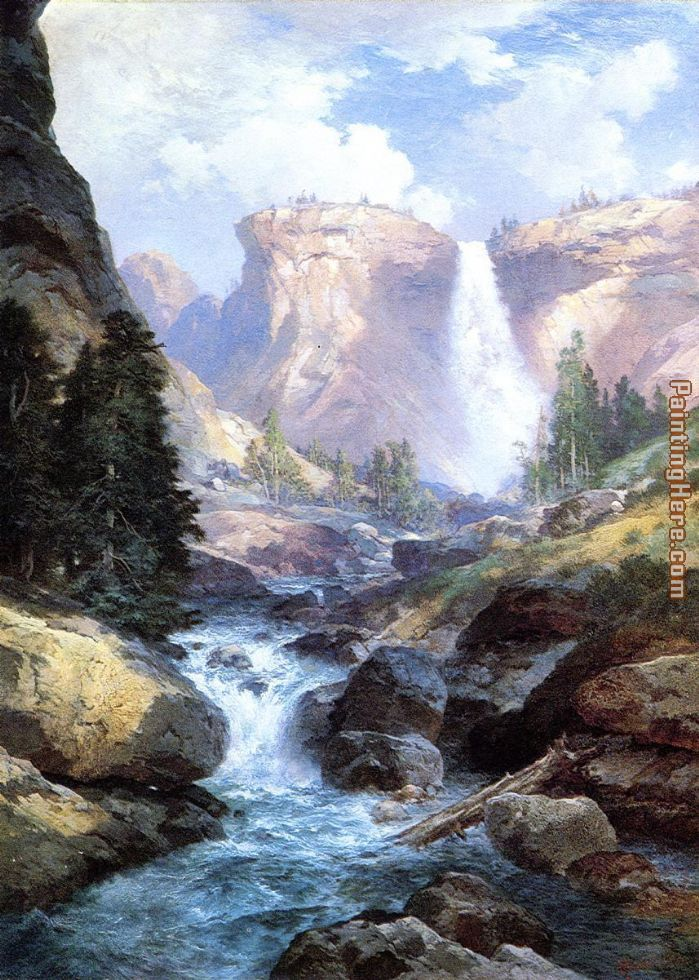 Waterfall in Yosemite painting - Thomas Moran Waterfall in Yosemite art painting
