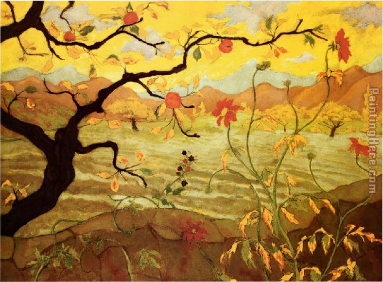 Unknown Artist Apple Tree with Red Fruit Art Painting