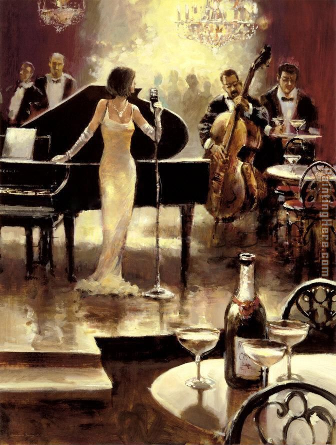 Unknown Artist Brent Heighton Jazz Night Out Art Painting