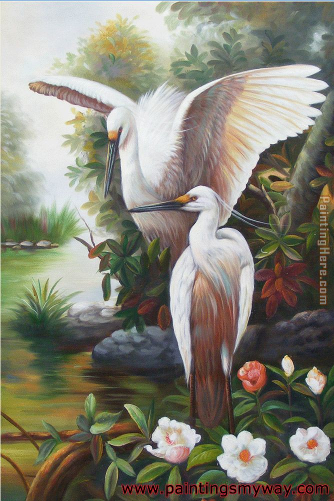 Cranes Two One Wings Spread White Flowers painting - Unknown Artist Cranes Two One Wings Spread White Flowers art painting