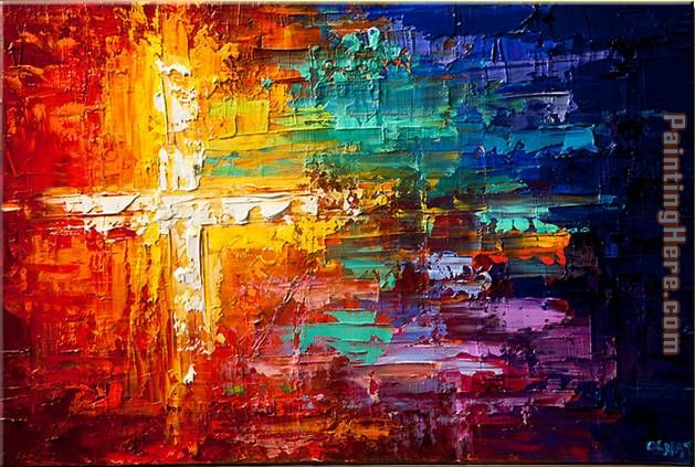 Cross colorful painting - Unknown Artist Cross colorful art painting