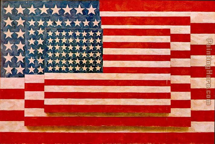 Jasper Johns three flags painting - Unknown Artist Jasper Johns three flags art painting