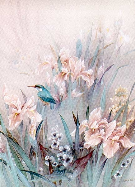Kingfisher and Iris painting - Unknown Artist Kingfisher and Iris art painting