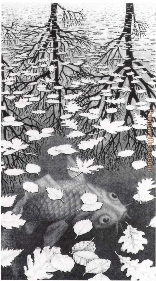Unknown Artist MC Escher Three Worlds Art Painting