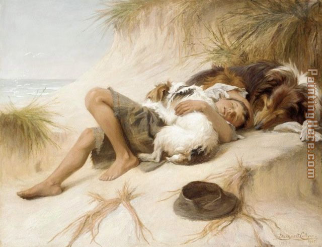 Margaret Collyer Young Boy Asleep with Dogs painting - Unknown Artist Margaret Collyer Young Boy Asleep with Dogs art painting