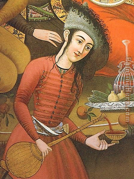 Persian woman pouring wine painting - Unknown Artist Persian woman pouring wine art painting