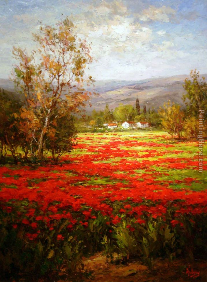 Unknown Artist Poppy Field Splendid Pathway Art Painting
