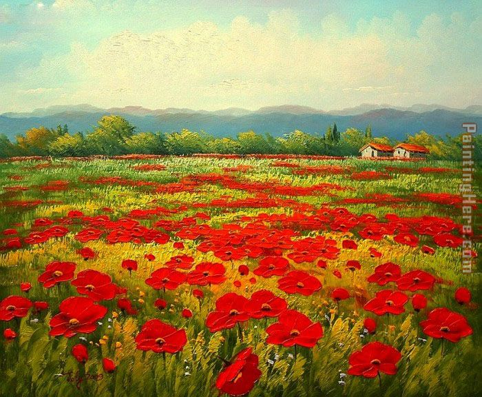 Unknown Artist Poppy field Art Painting