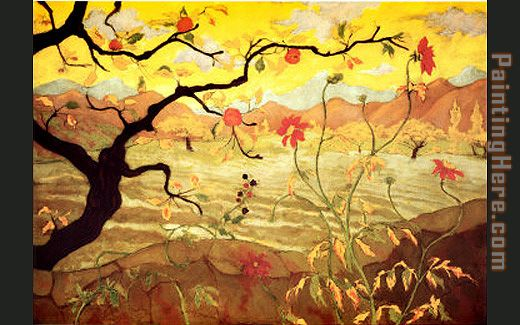 Unknown Artist Ranson Apple Tree with Red Fruit Art Painting