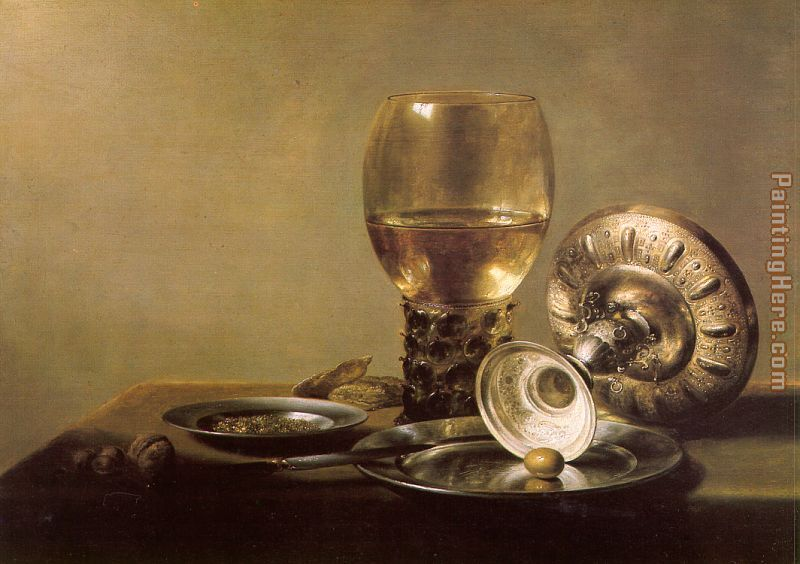 Unknown Artist Still Life with Wine Glass and Silver Bowl Art Painting