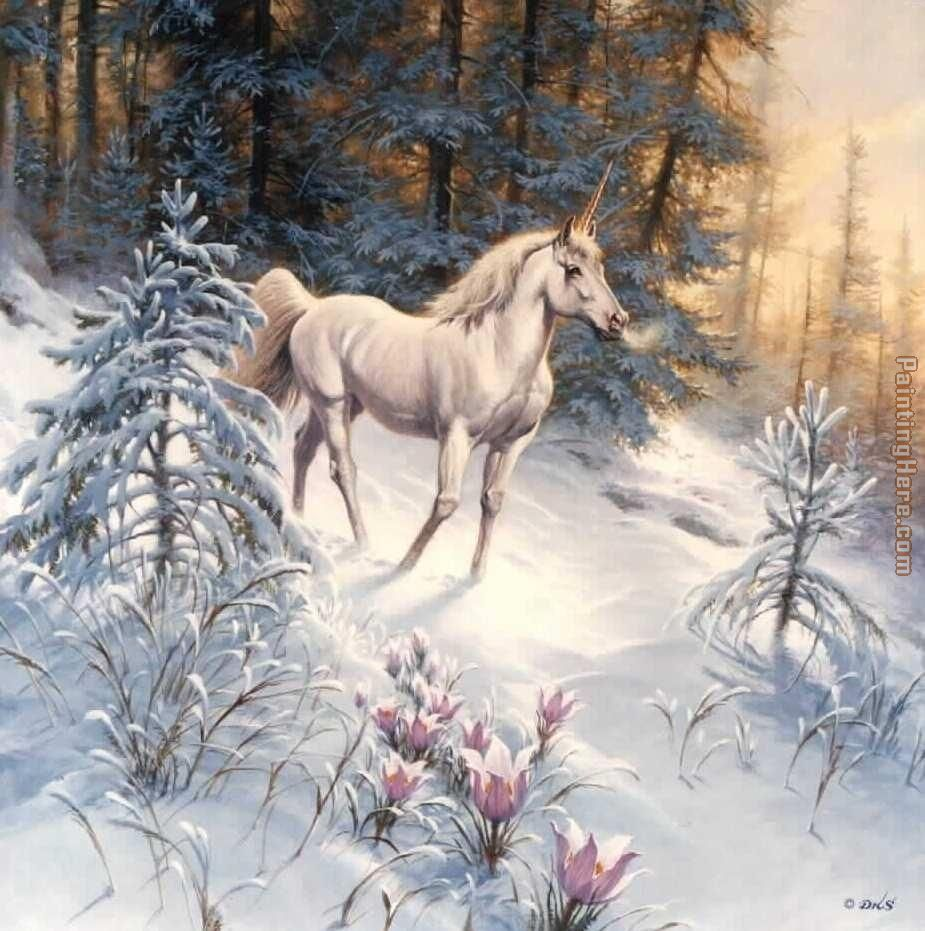 forest snowfall painting - Unknown Artist forest snowfall art painting