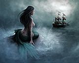 Mermaid and pirate ship by Unknown Artist