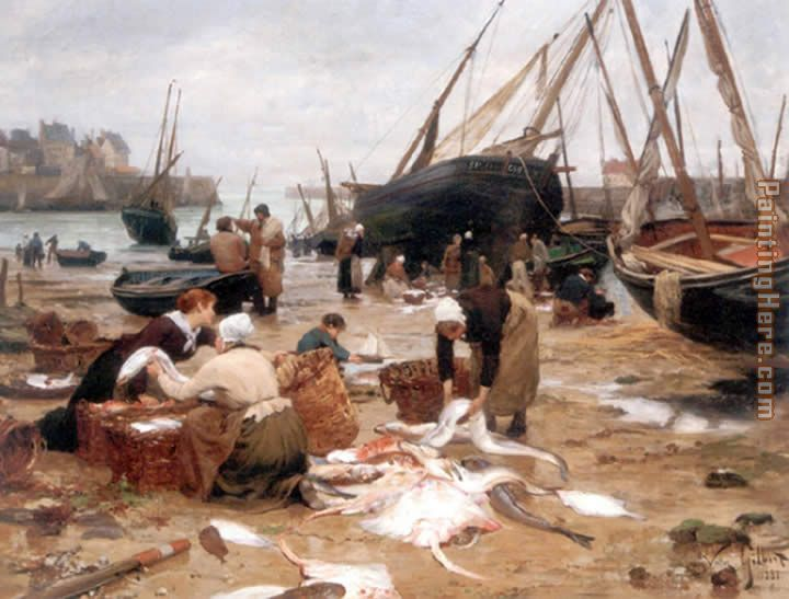Sorting the Fish painting - Victor Gabriel Gilbert Sorting the Fish art painting