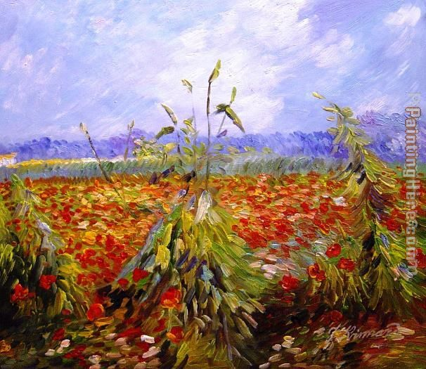 A Field With Poppies painting - Vincent van Gogh A Field With Poppies art painting