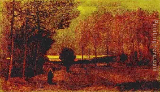 Autumn landscape at dusk painting - Vincent van Gogh Autumn landscape at dusk art painting