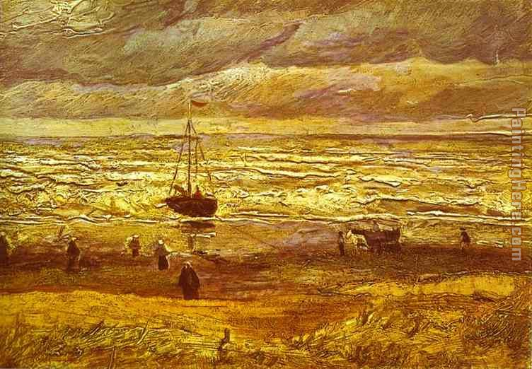 Beach with Figures and Sea with a Ship painting - Vincent van Gogh Beach with Figures and Sea with a Ship art painting