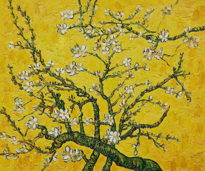 Branches of an Almond Tree in Blossom yellow painting - Vincent van Gogh Branches of an Almond Tree in Blossom yellow art painting