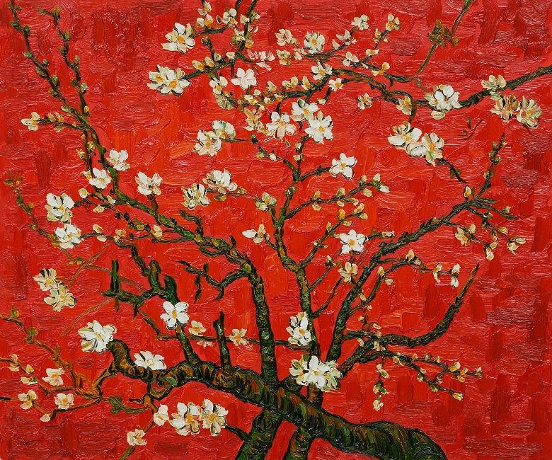 Vincent van Gogh Branches of an almond tree in Blossom in Red Art Painting