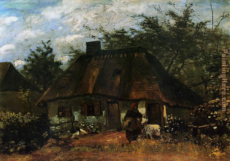 Vincent van Gogh Cottage and Woman with Goat Art Painting