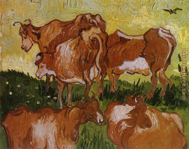 Cows painting - Vincent van Gogh Cows art painting