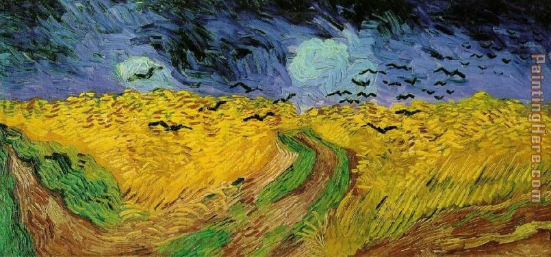 Crows over a Wheatfield painting - Vincent van Gogh Crows over a Wheatfield art painting