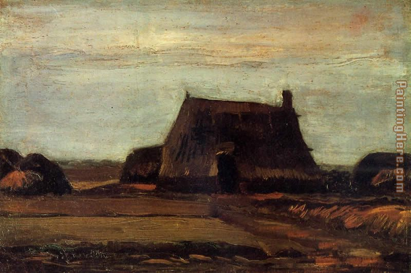 Vincent van Gogh Farmhouse with Peat Stacks Art Painting