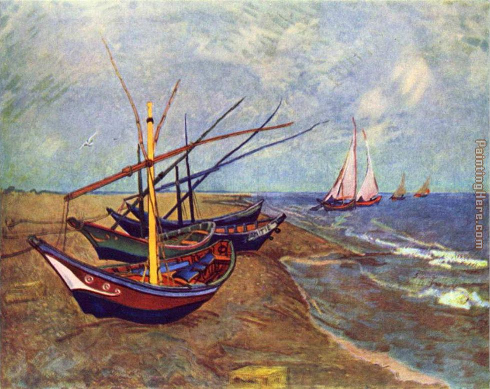 Vincent van Gogh Fishing Boats on the Beach at Saints-Maries Art Painting