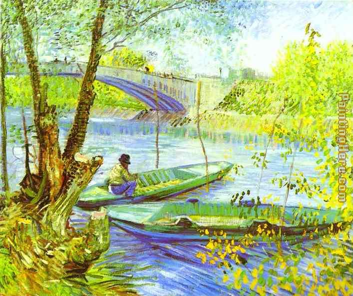 Vincent van Gogh Fishing in Spring Art Painting