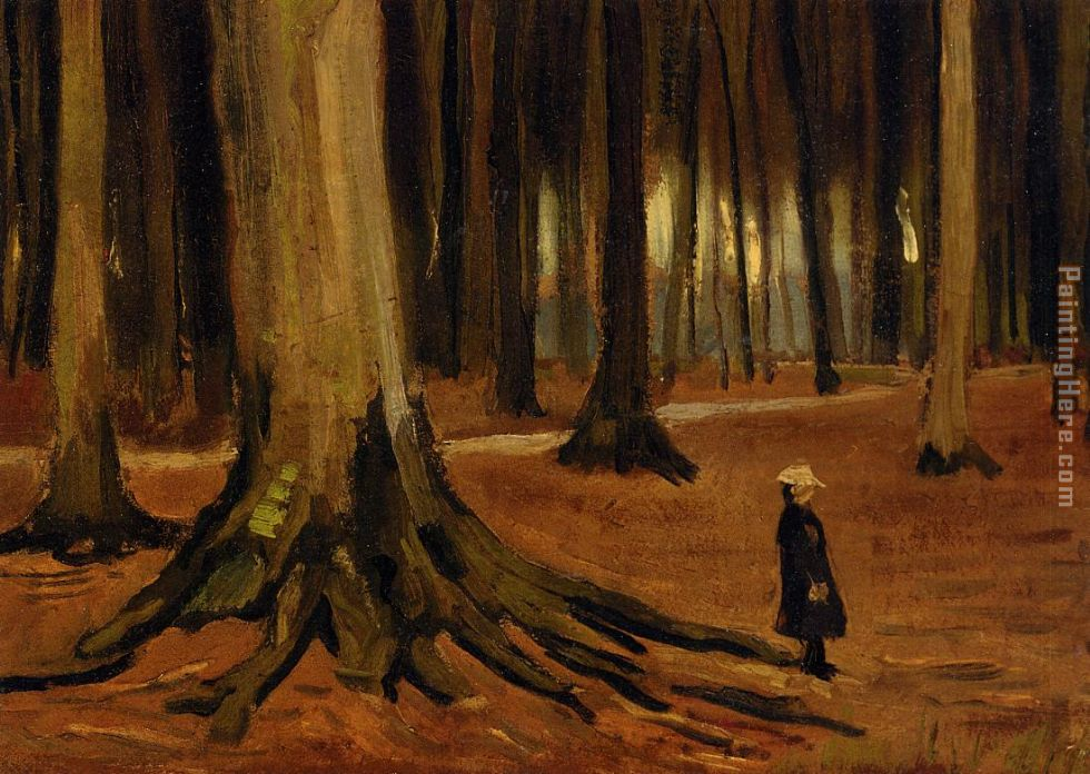 Girl in the Woods painting - Vincent van Gogh Girl in the Woods art painting
