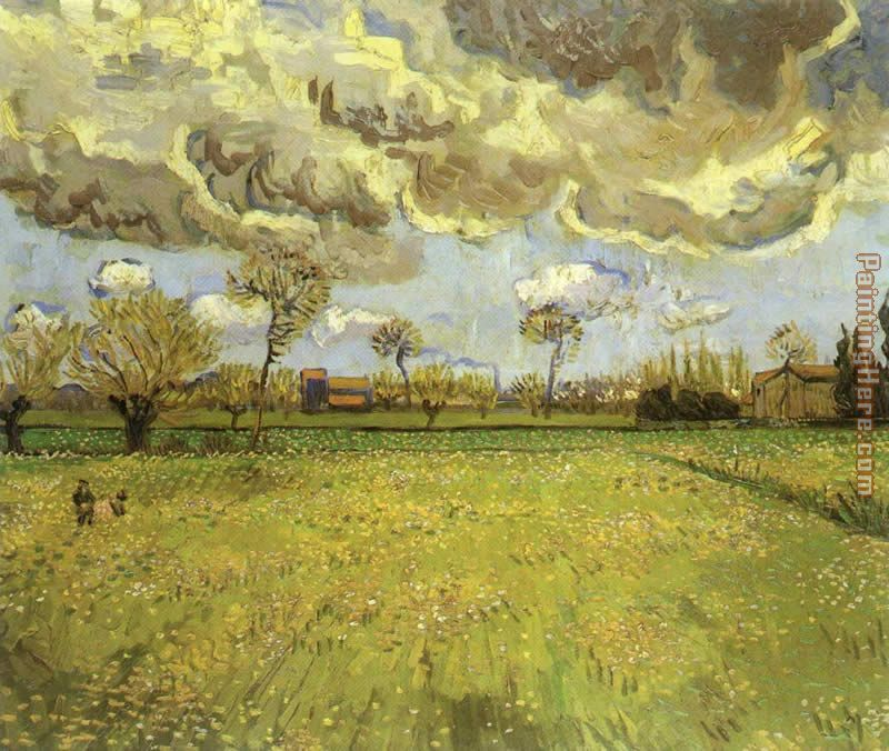 Landscape under Stormy Skies painting - Vincent van Gogh Landscape under Stormy Skies art painting