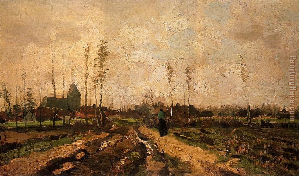 Vincent van Gogh Landscape with Church and Farms Art Painting