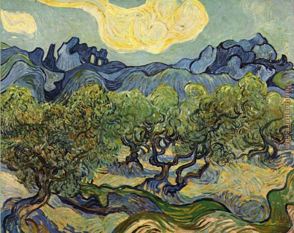 Vincent van Gogh Landscape with Olive Trees Art Painting