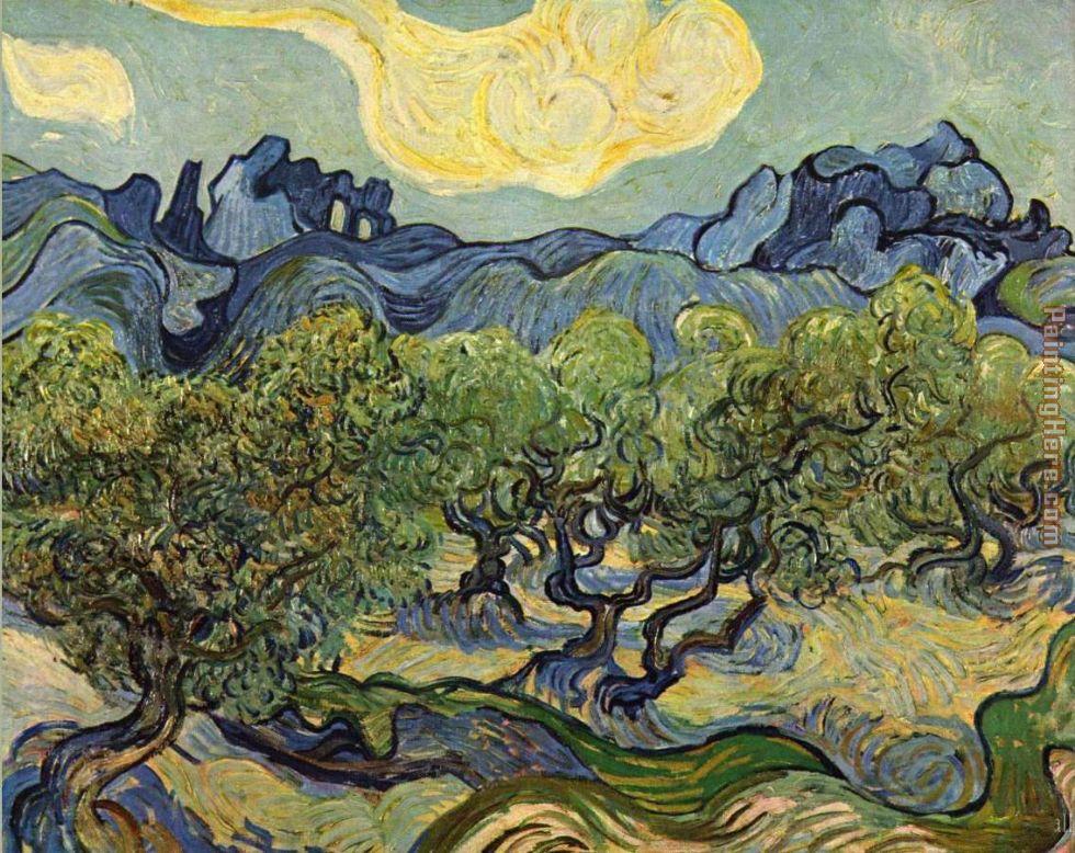 Van gogh vincent van gogh landscape with olive trees painting