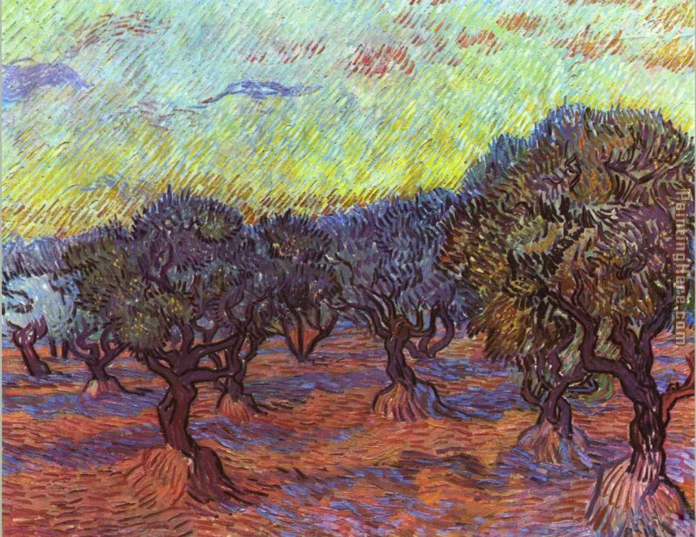 Olive grove painting - Vincent van Gogh Olive grove art painting