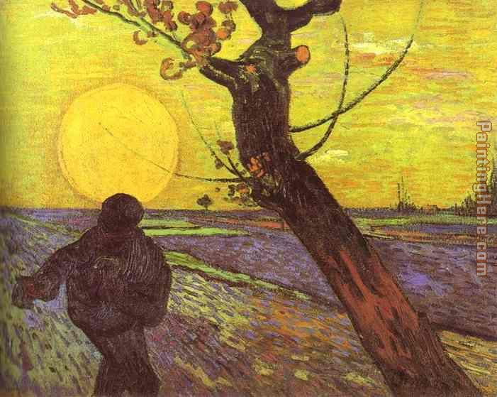 Vincent van Gogh Sower with Setting Sun After Millet Art Painting