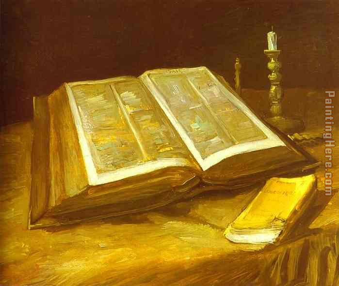 Still Life with Open Bible painting - Vincent van Gogh Still Life with Open Bible art painting